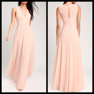 V Neck Peach Maxi Dress