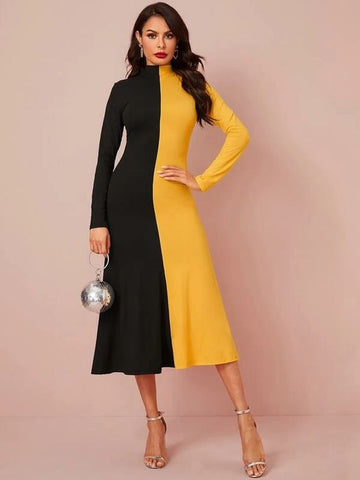 Black and Yellow Bumblebee Dress with Full sleeves