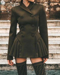 Double Breasted Olive Green Pleated Coat Dress