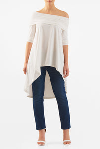 white cotton jersey tunic