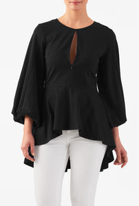 Black jersey frill top