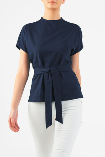 Navy Blue cotton jersey top
