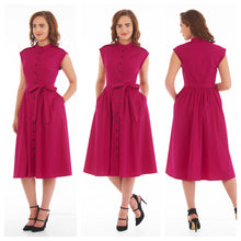 Pink Buttoned Midi Dress