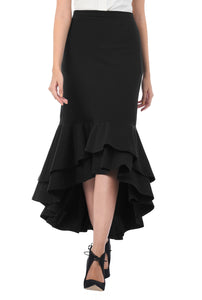 Black Asymmetrical Frill Skirt