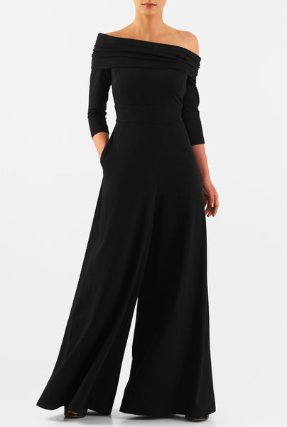 One piece Off Shoulder Black Jumpsuit