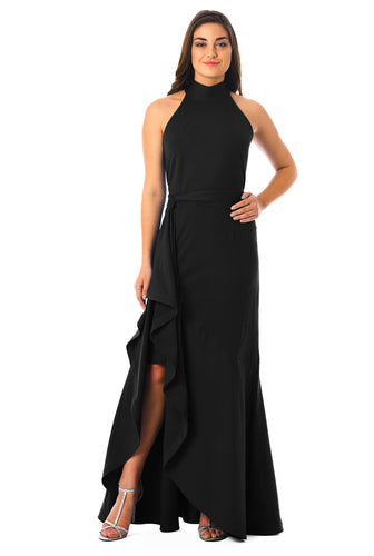 Black Asymmetrical Polo Neck Maxi Dress