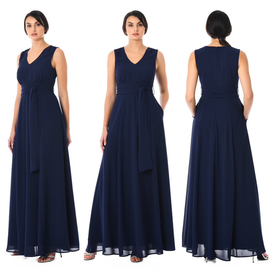Navy Blue V Neck Long Maxi Dress