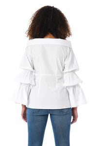 White Frilled Shirt Top