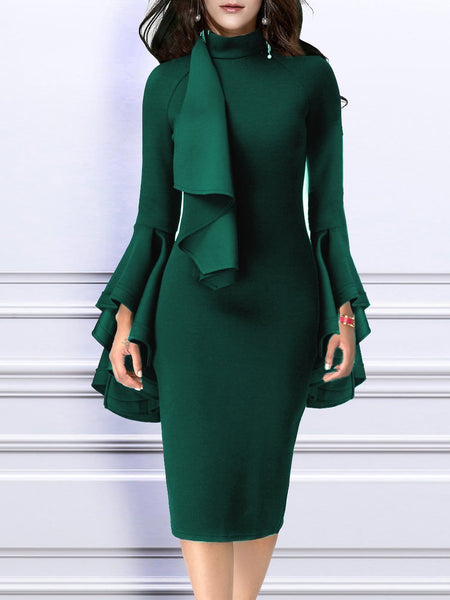 Emerald Green Bell Sleeves Belted Midi Dress
