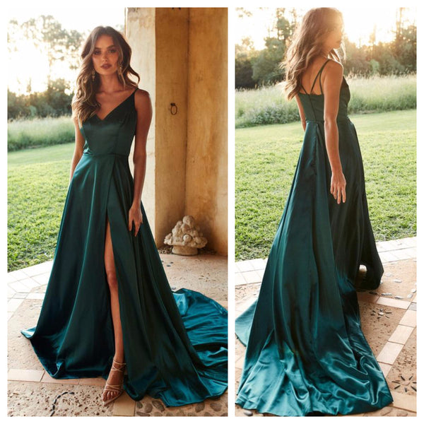 Green Satin Side Slit Ballroom Gown