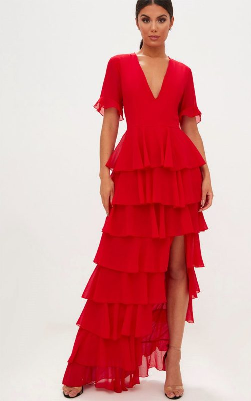 Red Multiple Layer Frills Maxi Dress