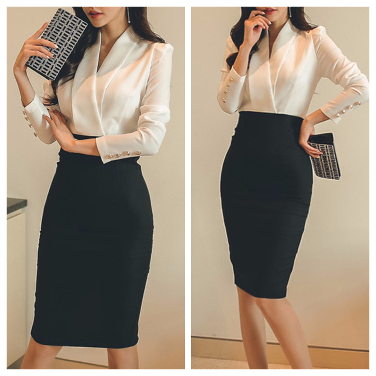Black and white Bodycon One Piece Office Wear Dress