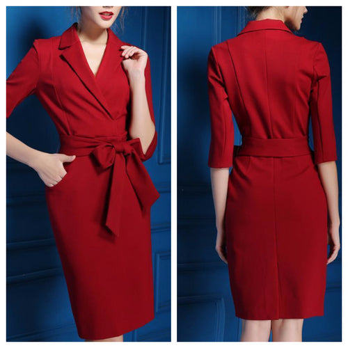 Dull Red One piece Belted Midi Dress