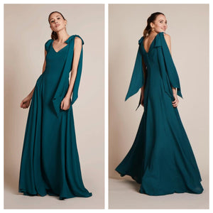 Green Tie Up Sleeves Maxi Dress
