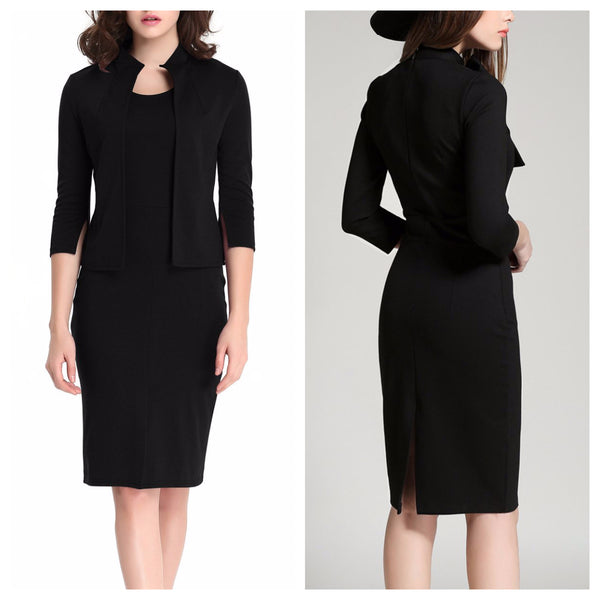 Black Two Piece Coat and Dress Set