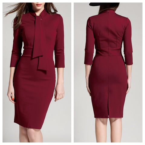 Burgundy Band Tie Midi Dress