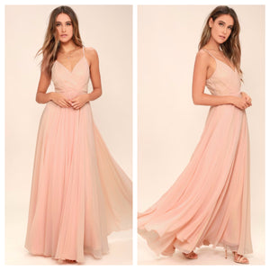 Peach Spaghetti Strap Maxi Dress