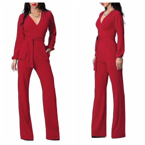 Red Tie Up Bell Bottoms Red Jumpsuit