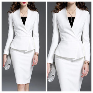 White Coat with Skirt Formal Set