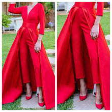 Red Jumpsuit with attached Skirt