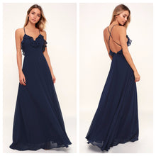 Navy Blue Frill Backless Maxi Dress