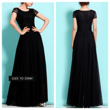 Black Lace Short Sleeves Maxi Dress