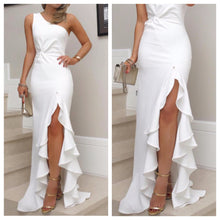 White Frill Slit Maxi Dress