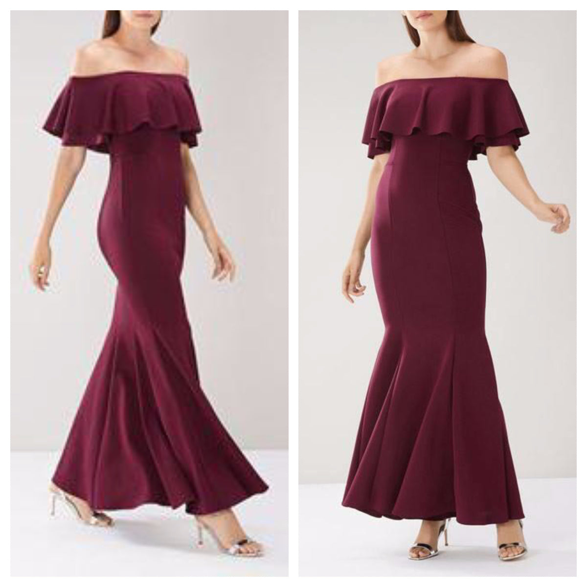 Maroon Scuba Off Shoulder Frill Maxi Dress