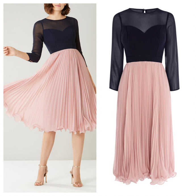 Multi Color Pink and Navy Frill Midi Dress