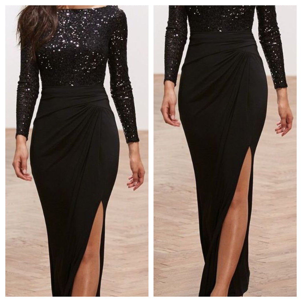 Glitterati Sequins Black Bodycon Dress