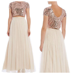 Sequins Top and White Skirt Set
