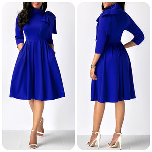 Mock Neck Three Quarter Sleeve Pocket Dress