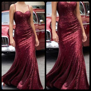 Maroon Sequins Spaghetti Strap Dress