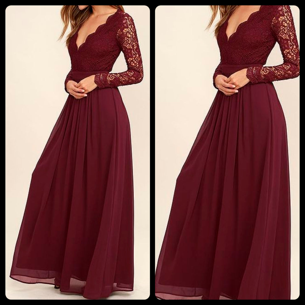 Wine Lace Flared maxi Dress