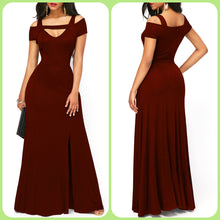 Front Slit Wine Red Strappy Cold Shoulder Maxi Dress
