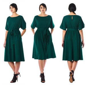Teal Green Semi Formal Belted Midi Dress