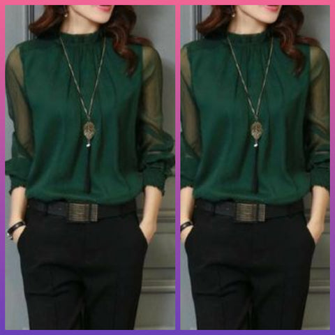 Green High Neck Semi Formal Wear Top
