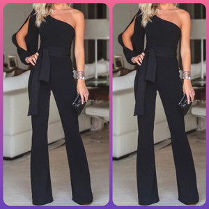 Black One Shoulder Jumpsuit with belt