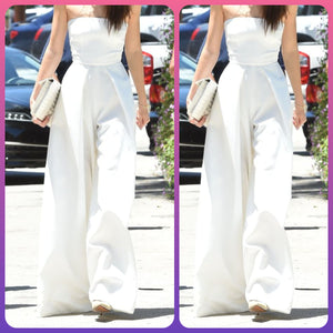 White Off Shoulder Flared Jumpsuit