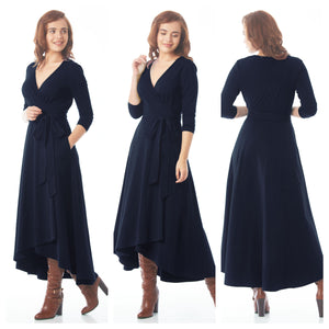 Navy Blue Asymmetrical Belted Maxi Dress