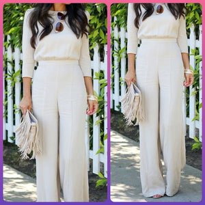 White two piece Semi Formal Top and Pants set