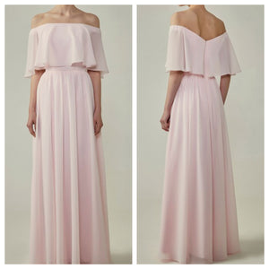 Bohemian Style Off Shoulder Georgette Flounce Top Bridesmaid Dress