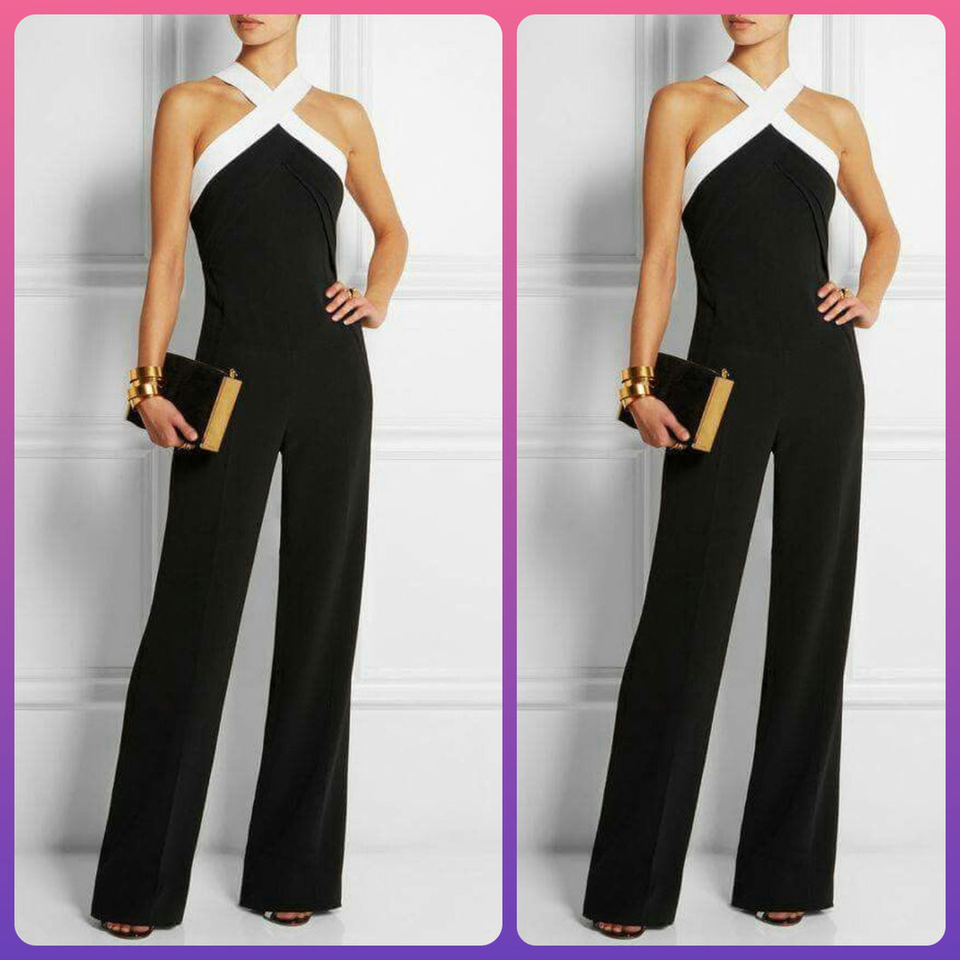Cross Neck Black Flared Jumpsuit