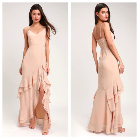 Esther Blush Ruffled Sleeveless Maxi Dress