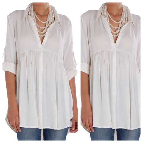 White Collar Semi Formal Ruffled Shirt