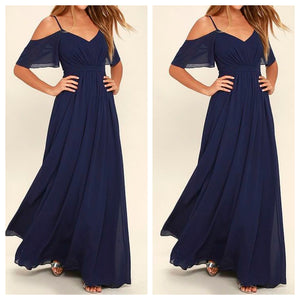 Cold Shoulder Spaghetti Navy Maxi Dress