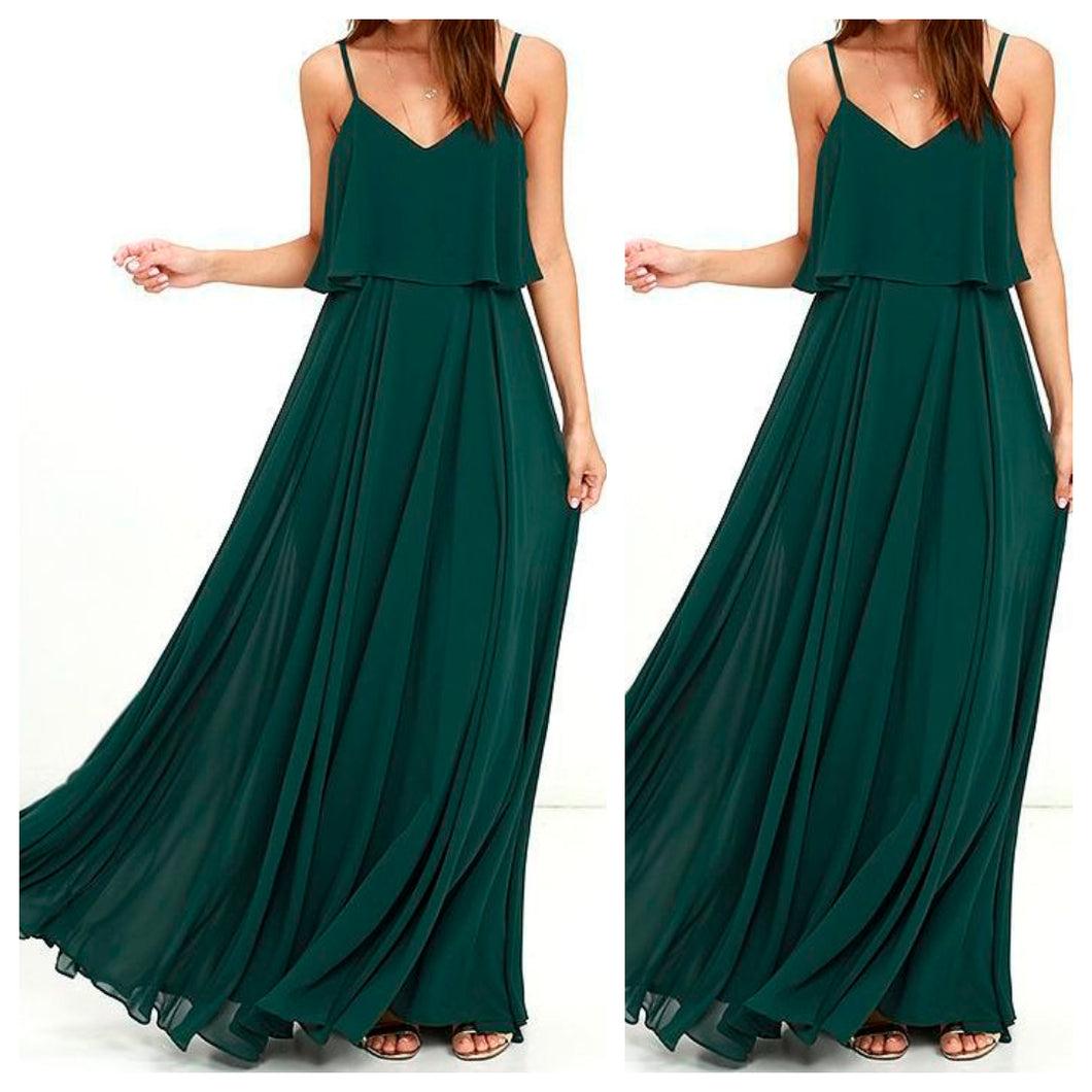 Spaghetti Strap Emerald Green Maxi Dress