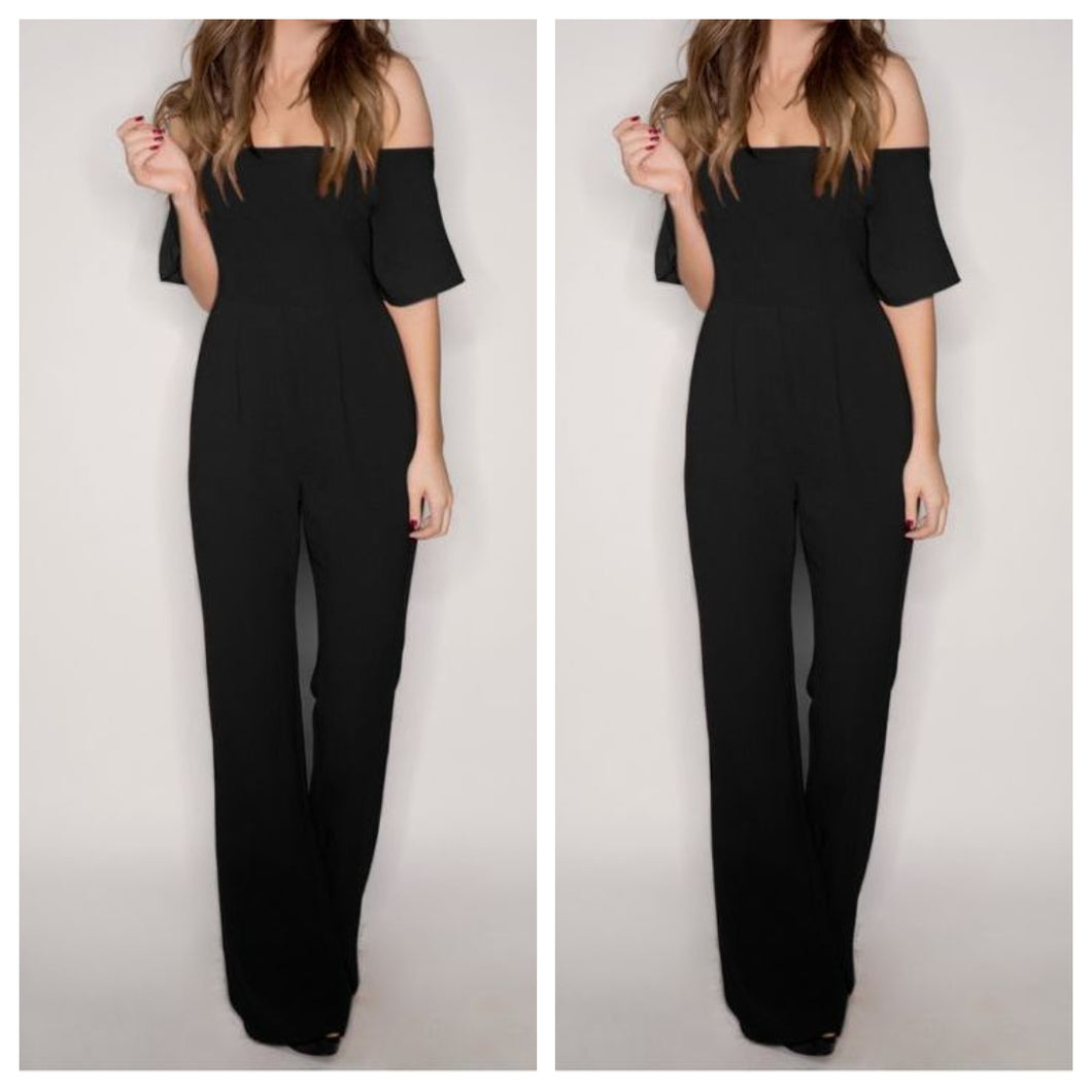 Black Off Shoulder Evening Jumpsuit