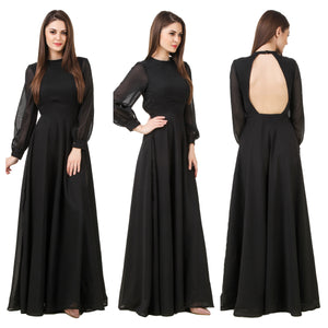 Black Oval Shape Back Long Dress