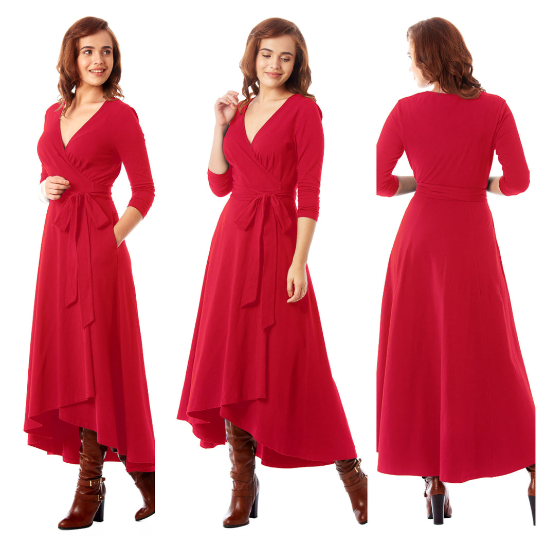 Red solid wrap dress